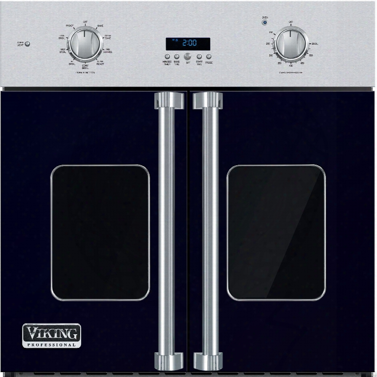 Viking Professional 7 Series Vsof730cb 30 Inch Single French Door Wall Ovn With 4.7 Cu. Ft. Vari-speed Dual Flow Truconvec Cooking Capacity, Gourmet-glo Glass Enclosed Infrared Broiler, Rapid Ready Preheat And Truglide Full Extension Rack: Cobalt Blue