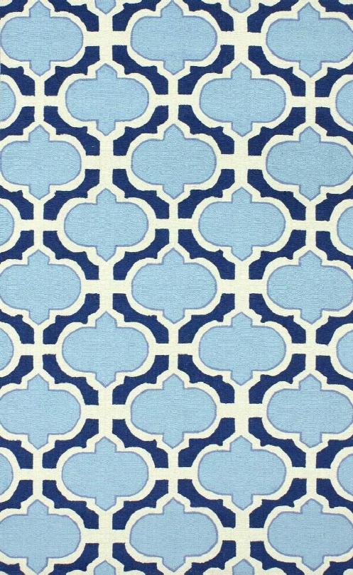 Acedia Trellis 100% Wool Hand-hooked Area Rug In Blue Design By Nuloom