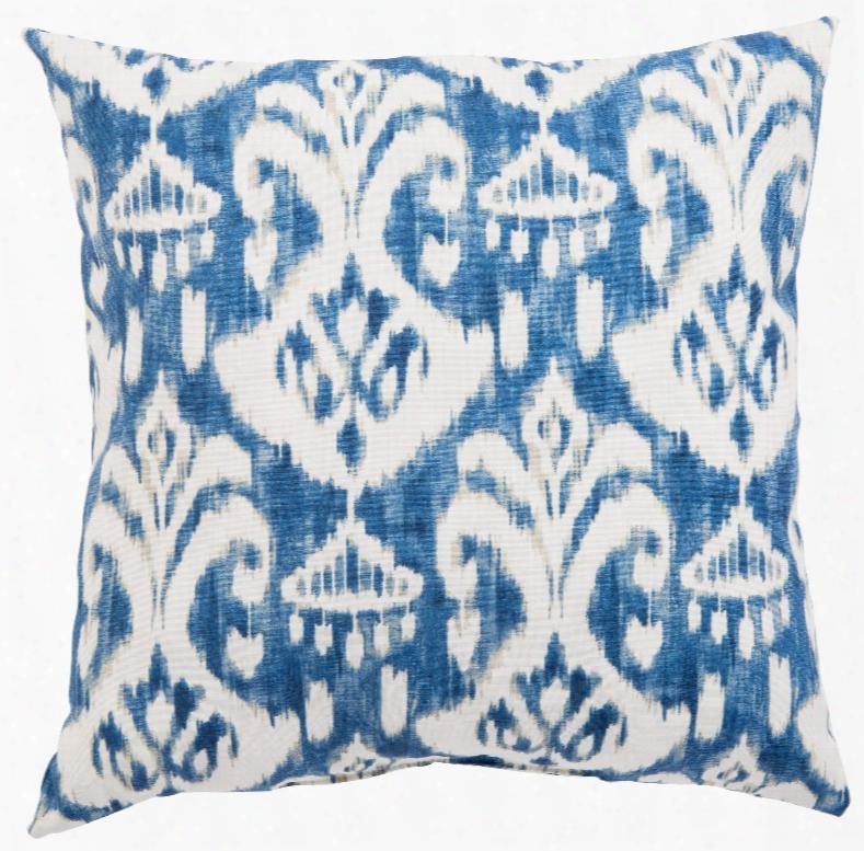 Blue & White Ikat Rivoli Fresco Indoor/ Outdoor Throw Pillow Design By Jaipur