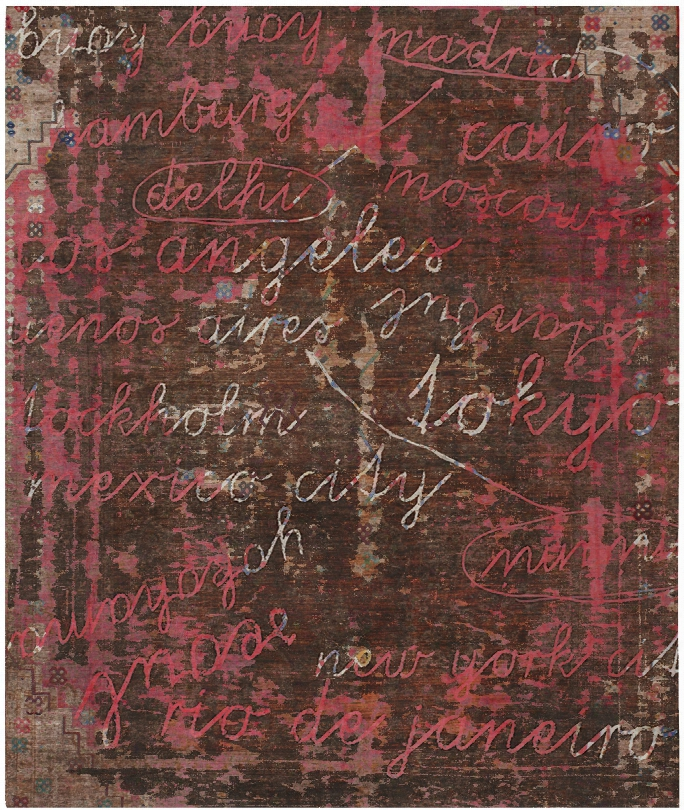 Buenos Aires / Toky Ohand Knotted Rug In Red Design By Second Studil