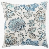 White & Blue Floral Busan Indoor/ Outdoor Throw Pillow design by Jaipur