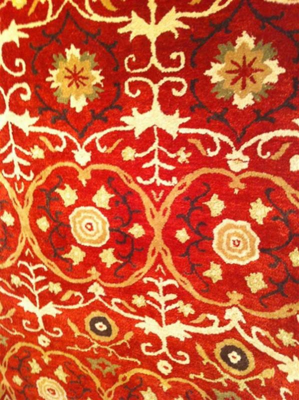 Soho Collection Wool Area Rug In Red And Multi Design By Safavieh