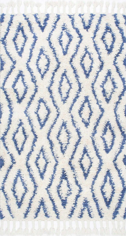 Soukey 100% Wool Area Ug In Blue Design By Nuloom