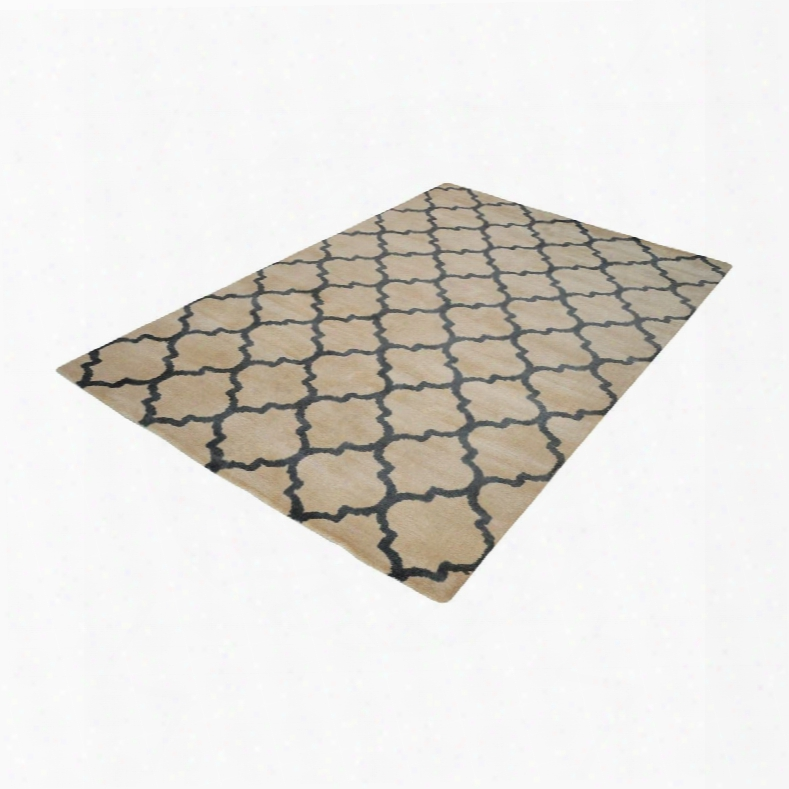 Wego Handwoven Printed Wool Rug In Natural & Black Design By Lazy Susan