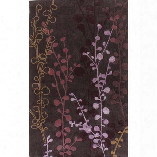 Cosmo Ultra Collection Wool Area Rug In Shadowy Mauve, Brown Sugar, And Dusty Rose Design By Surya