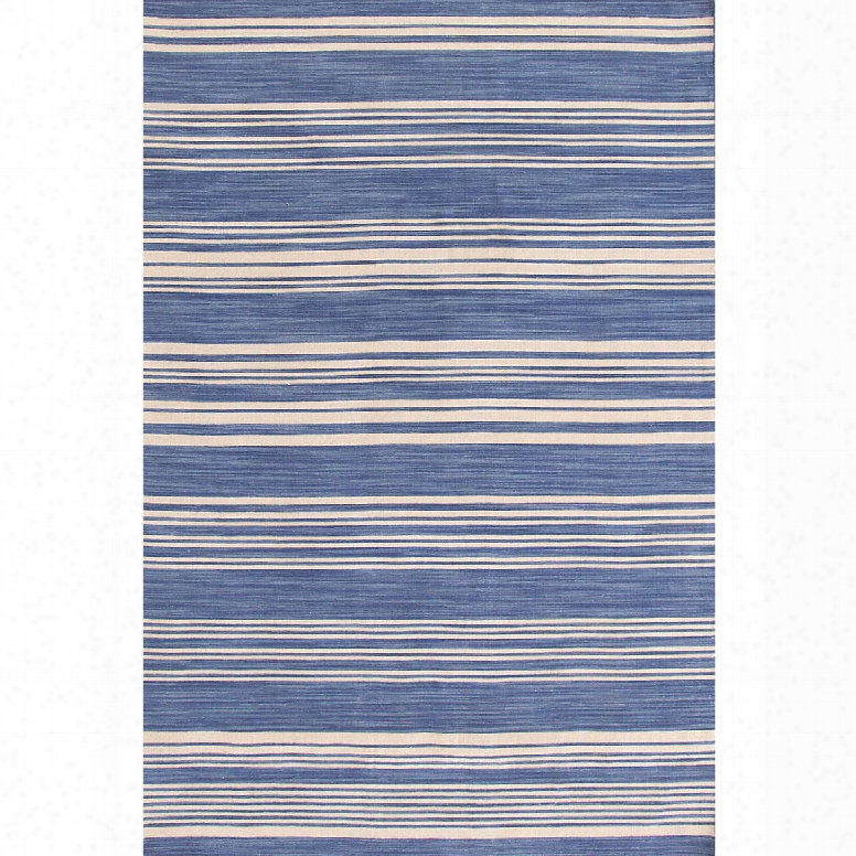 Cottage Stripe French Blue Wool Woven Rug Design By Dash & Albert